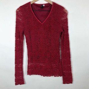 🦋 Women v-neck red long sleeve top size Medium